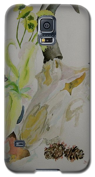 Galaxy S5 Case featuring the painting Antelope Skull Pinecones And Lily by Beverley Harper Tinsley