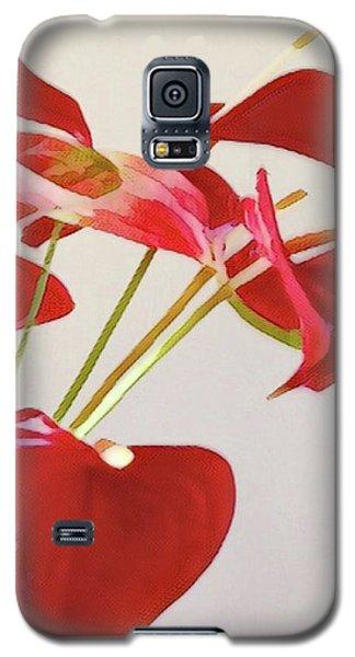 Anthurium Fragments In Red Galaxy S5 Case