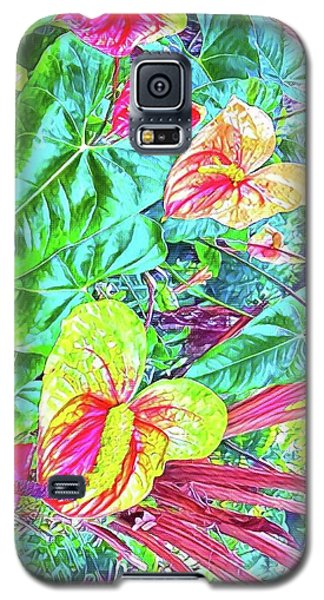 Anthuriums Pink And Turquoise Galaxy S5 Case