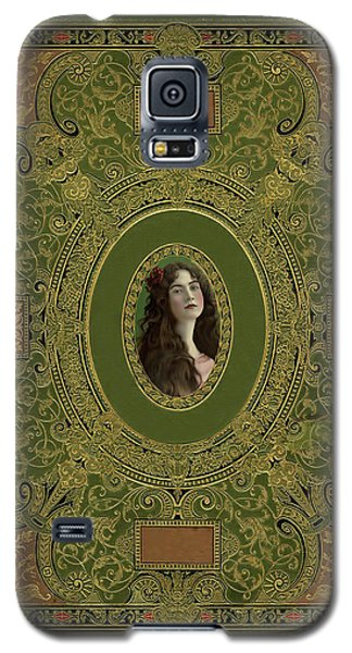 Antique Book Cover With Cameo - Green And Gold Galaxy S5 Case