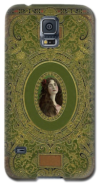 Antique Book Cover With Cameo - Green And Gold Galaxy S5 Case by Peggy Collins