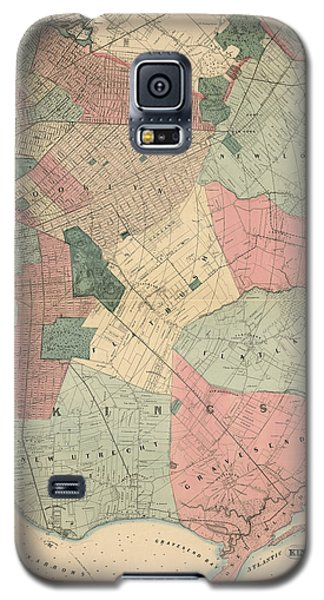 Galaxy S5 Case featuring the drawing Antique Map Of Brooklyn - New York City - By M. Dripps - 1868 by Blue Monocle