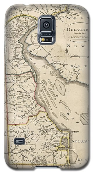 Galaxy S5 Case featuring the drawing Antique Map Of Delaware By Mathew Carey - 1814 by Blue Monocle