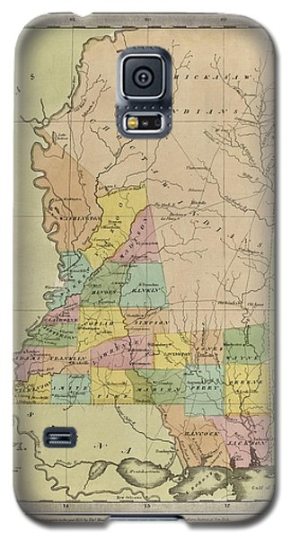 Galaxy S5 Case featuring the drawing Antique Map Of Mississippi By David Burr - 1835 by Blue Monocle