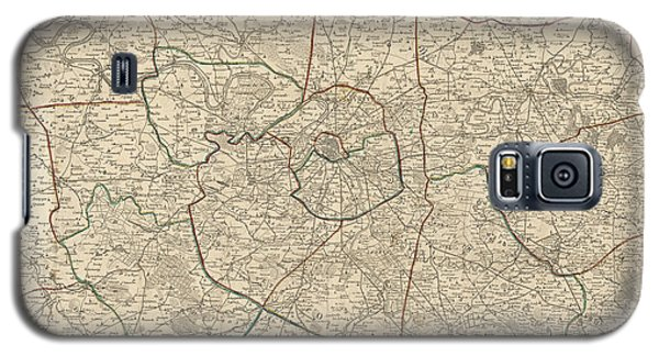 Galaxy S5 Case featuring the drawing Antique Map Of Paris France And Surroundings By Jacques Esnauts - 1811 by Blue Monocle