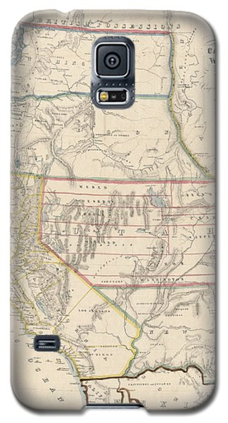 Galaxy S5 Case featuring the drawing Antique Map Of The Western United States By John Disturnell - 1853 by Blue Monocle