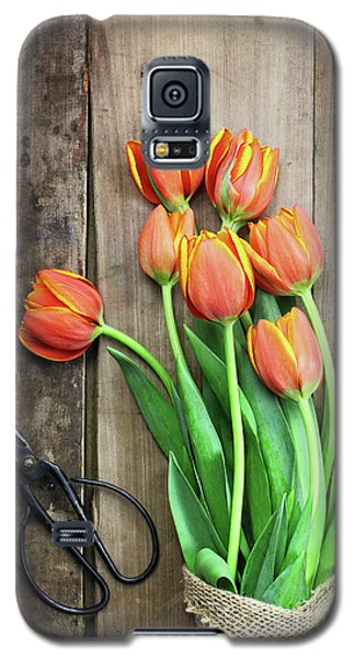 Galaxy S5 Case featuring the photograph Antique Scissors And Bouguet Of Tulips by Stephanie Frey
