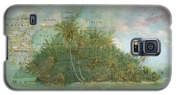 Galaxy S5 Case featuring the photograph Antique Vintage Map Of North America Tropical Ocean by Debra and Dave Vanderlaan