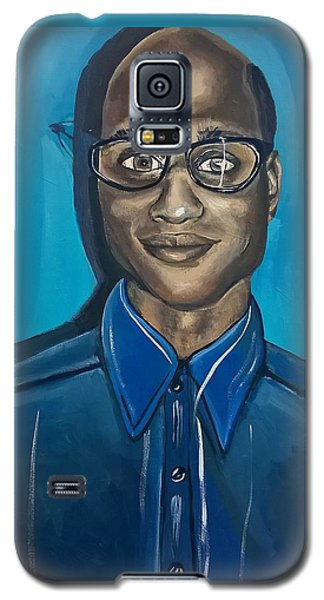 Black Man Cartoon Art, Nerd Guy With Glasses, Painting Galaxy S5 Case