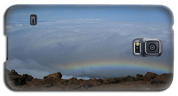 Anuenue - Rainbow At The Ahinahina Ahu Haleakala Sunrise Maui Hawaii Galaxy S5 Case by Sharon Mau