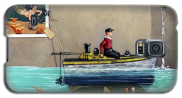 Galaxy S5 Case featuring the painting Anyfin Is Possible - Fisherman Toy Boat And Mermaid Still Life Painting by Linda Apple