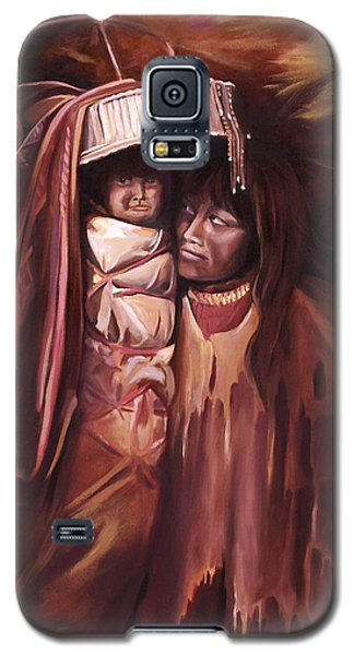 Galaxy S5 Case featuring the painting Apache Girl And Papoose by Nancy Griswold
