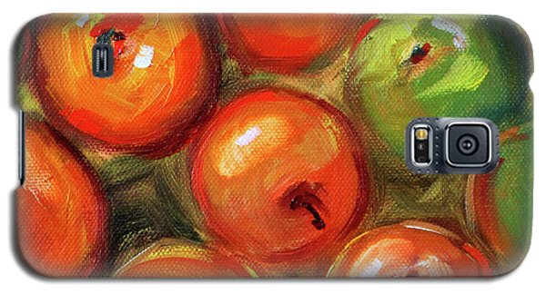 Galaxy S5 Case featuring the painting Apple Barrel Still Life by Nancy Merkle