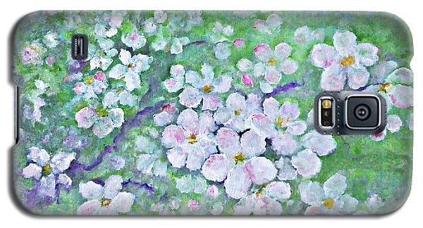 Galaxy S5 Case featuring the painting Apple Tree Flowers by AmaS Art