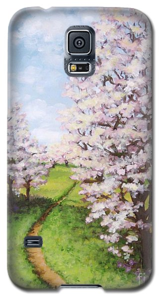 Galaxy S5 Case featuring the painting Apple Trees Along The Path by Inese Poga