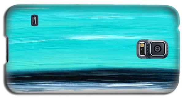 Aqua Sky - Bold Abstract Landscape Art Galaxy S5 Case by Sharon Cummings