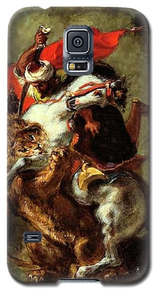 Galaxy S5 Case featuring the painting Arab Horseman Attacked By A Lion by Eugene Delacroix
