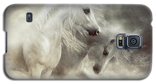 Galaxy S5 Case featuring the digital art Arabian Horses Sandstorm by Shanina Conway