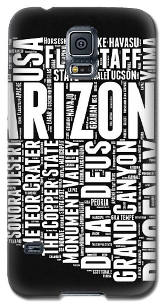 Arizona Black And White Word Cloud Map Galaxy S5 Case by Naxart Studio