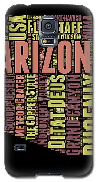 Arizona Word Cloud Map 1 Galaxy S5 Case by Naxart Studio