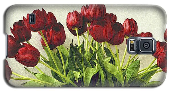 Array Of Red Tulips Galaxy S5 Case by Nadalyn Larsen