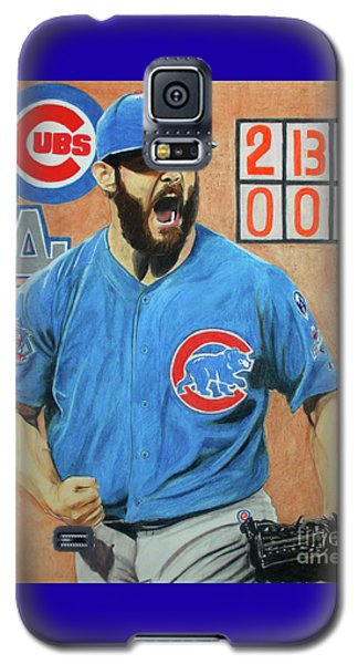 Galaxy S5 Case featuring the drawing Arrieta No Hitter - Vol. 1 by Melissa Goodrich
