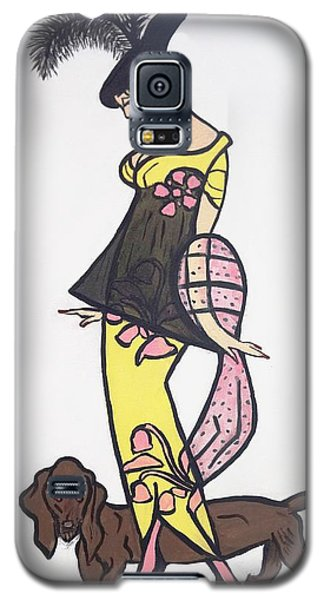 Art Deco  1920's Girls And Dogs Galaxy S5 Case by Nora Shepley