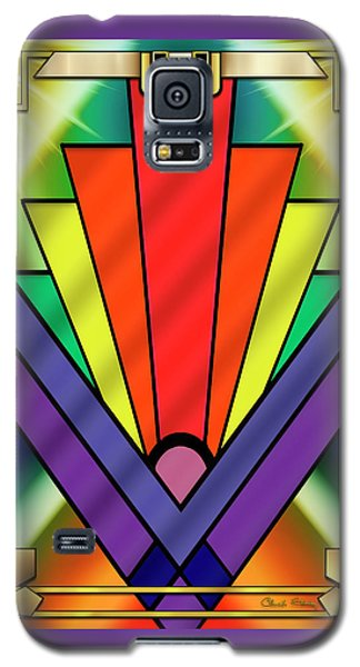 Galaxy S5 Case featuring the digital art Art Deco Chevron 1 V - Chuck Staley by Chuck Staley