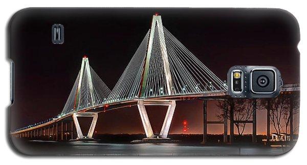 Galaxy S5 Case featuring the photograph Arthur Ravenel Jr. Bridge At Midnight by George Randy Bass