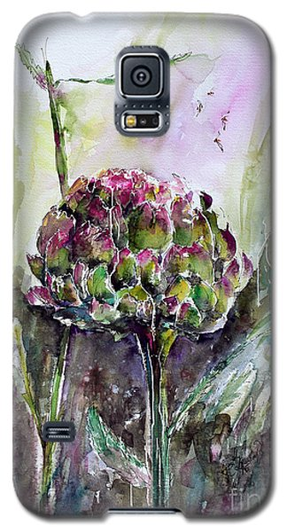 Galaxy S5 Case featuring the painting Artichoke Watercolor And Ink By Ginette by Ginette Callaway