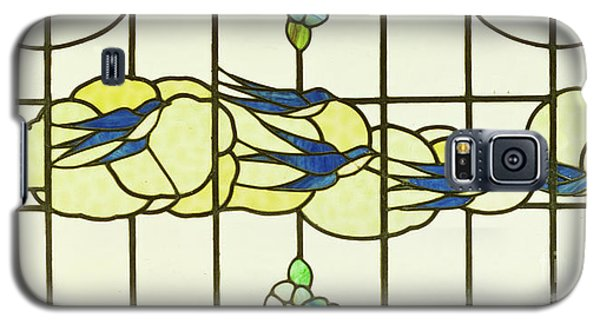 Arts And Crafts Panel Of A Group Of Swallows Before Clouds In A Border Of Flowers Galaxy S5 Case