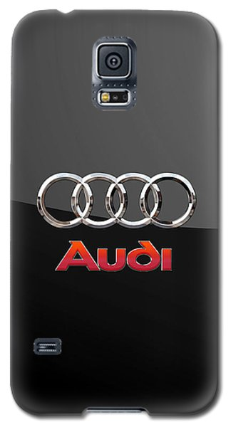 Audi - 3 D Badge On Black Galaxy S5 Case by Serge Averbukh