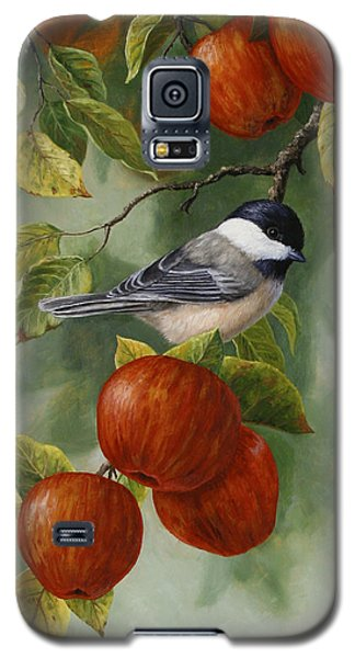 Apple Chickadee Greeting Card 2 Galaxy S5 Case by Crista Forest