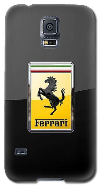 Ferrari - 3 D Badge On Black Galaxy S5 Case by Serge Averbukh