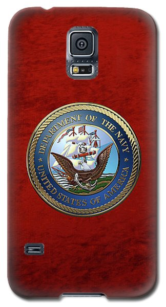 U. S.  Navy  -  U S N Emblem Over Red Velvet Galaxy S5 Case