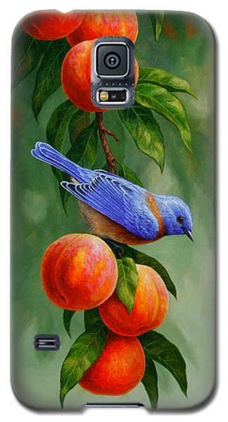 Bird Painting - Bluebirds And Peaches Galaxy S5 Case