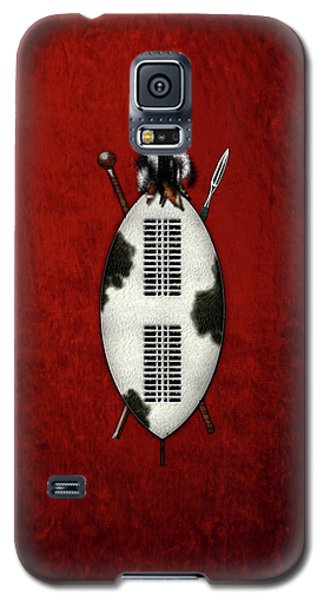 Zulu War Shield With Spear And Club On Red Velvet  Galaxy S5 Case