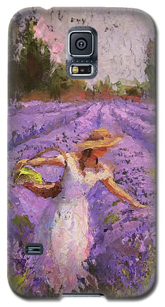 Woman Picking Lavender In A Field In A White Dress - Lady Lavender - Plein Air Painting Galaxy S5 Case