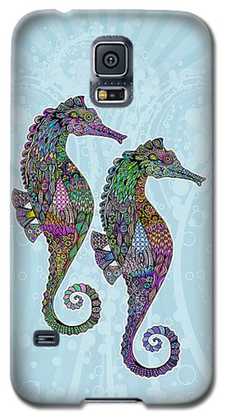 Galaxy S5 Case featuring the drawing Electric Seahorses by Tammy Wetzel