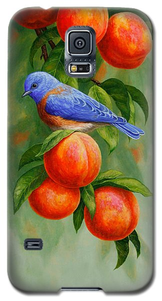 Bluebird And Peaches Greeting Card 2 Galaxy S5 Case by Crista Forest