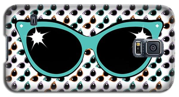 Retro Turquoise Cat Sunglasses Galaxy S5 Case