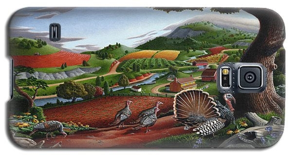 Wild Turkeys Appalachian Thanksgiving Landscape - Childhood Memories - Country Life - Americana Galaxy S5 Case
