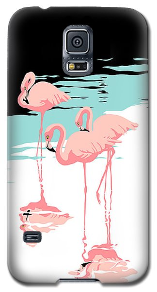 Flamingo Galaxy S5 Case - Pink Flamingos Tropical 1980s Abstract Pop Art Nouveau Graphic Art Retro Stylized Florida Print by Walt Curlee