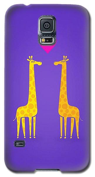 Cute Cartoon Giraffe Couple In Love Purple Edition Galaxy S5 Case