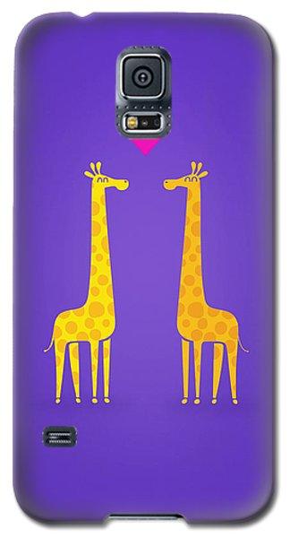 Cute Cartoon Giraffe Couple In Love Purple Edition Galaxy S5 Case by Philipp Rietz