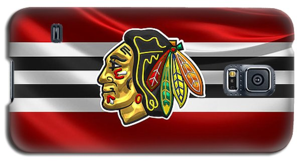 Chicago Blackhawks - 3 D Badge Over Silk Flag Galaxy S5 Case
