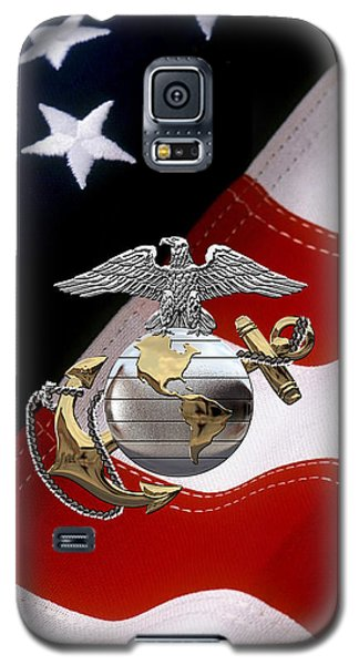 U S M C Eagle Globe And Anchor - C O And Warrant Officer E G A Over U. S. Flag Galaxy S5 Case