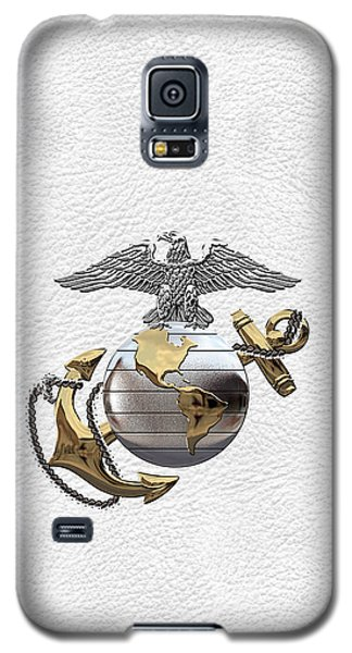 U S M C Eagle Globe And Anchor - C O And Warrant Officer E G A Over White Leather Galaxy S5 Case