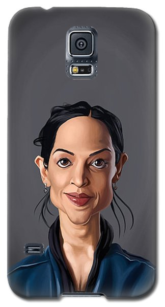 Galaxy S5 Case featuring the drawing Celebrity Sunday - Archie Panjabi by Rob Snow