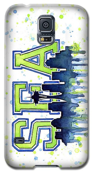 Sport Galaxy S5 Case - Seattle Watercolor 12th Man Art Painting Space Needle Go Seahawks by Olga Shvartsur